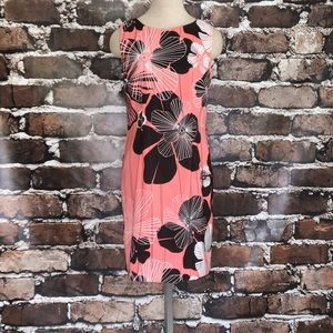 Connected Sleeveless Dress 6 Brown & Coral Floral